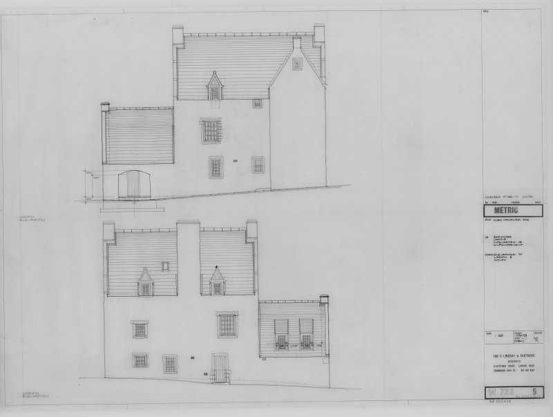 Elevations to North and South.