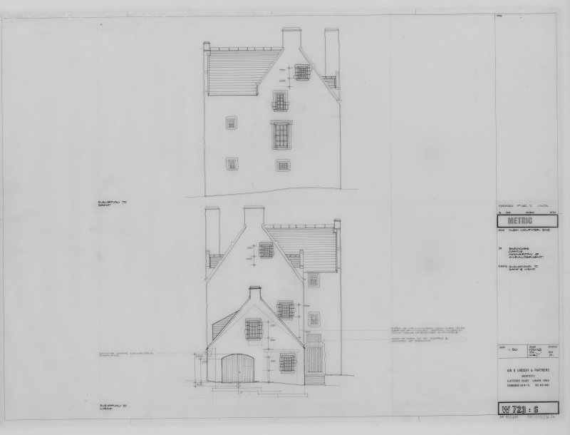 Elevations to East and West.