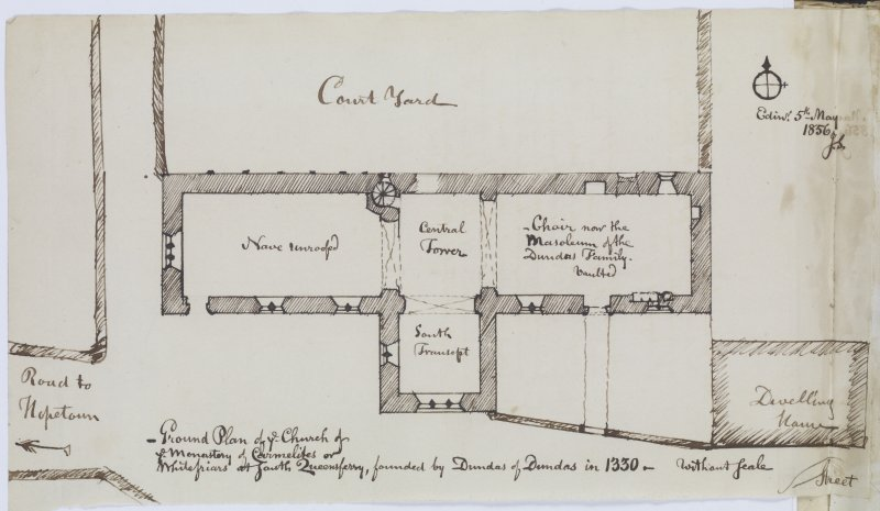 "Page 49 verso: Ink sketch plan of Whitefriars Church at South Queensferry Insc: ""Ground Plan of ye Church of ye Monastery of Carmelites or Whitefriars at South Queensferry, founded by Dundas of Dundas in 1330.   Edinr. 5th May 1856.  J.S."" 'MEMORABILIA, JOn. SIME  EDINr.  1840'"