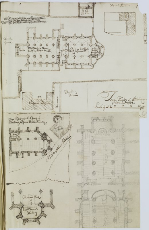 "Digital copy of page 51 verso: Ink sketch plan of Town Church of Stirling; ink and pencil sketches of New Episcopal Chapel, Stirling. Insc. ""Town Kirk of Stirling. 7th September 1829. J.S."" Insc. ""New ..."