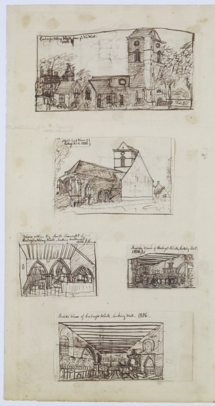 "Digital copy of page 57 verso: Ink sketches of Culross Abbey Church.   Insc. ""Culross Abbey Kirk from ye No. West. 1806"", Insc. ""North East view of Culross Kirk. 1806"" Insc. ""View within the South Transept of Culross Abbey Kirk looking Westwards. 1806. J.Sime"" Insc. ""Inside view of Culross Kirk, looking East. 1806. J.S."" Insc. ""Inside view of Culross Kirk, looking West. 1806"" 'MEMORABILIA, JOn. SIME  EDINr.  1840'"