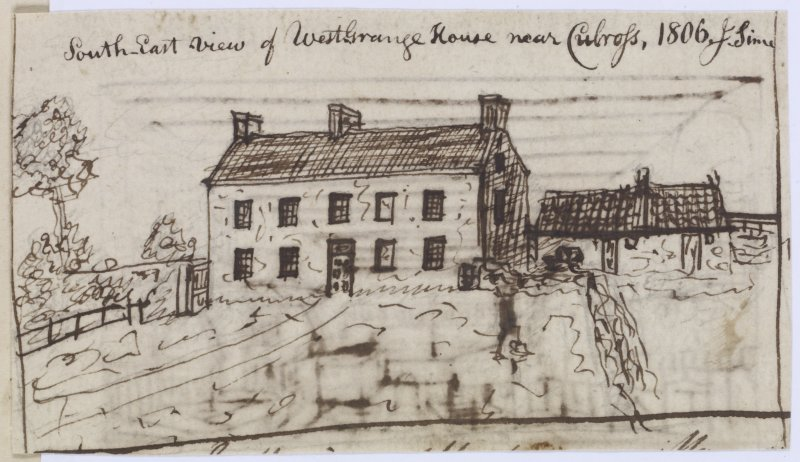 "Digital copy of page 57 verso: Ink sketch of West Grange House near Culross, from South East Insc. ""South East view of West Grange House near Culross, 1806. J.Sime"" 'MEMORABILIA, JOn. SIME  EDINr.  18 ..."