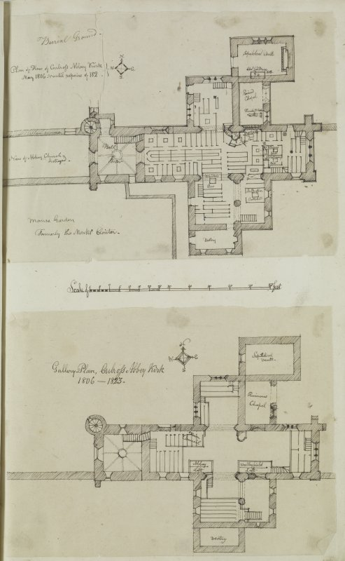 "Digital copy of page 58: Ink sketch plan of Ground Floor of Culross Abbey Church Insc. ""Plan of Floor of Culross Abbey Kirk. May 1806"".  Insc. ""Gallery Plan, Culross Abbey Kirk. 1806-23"" 'MEMORABILIA, ..."