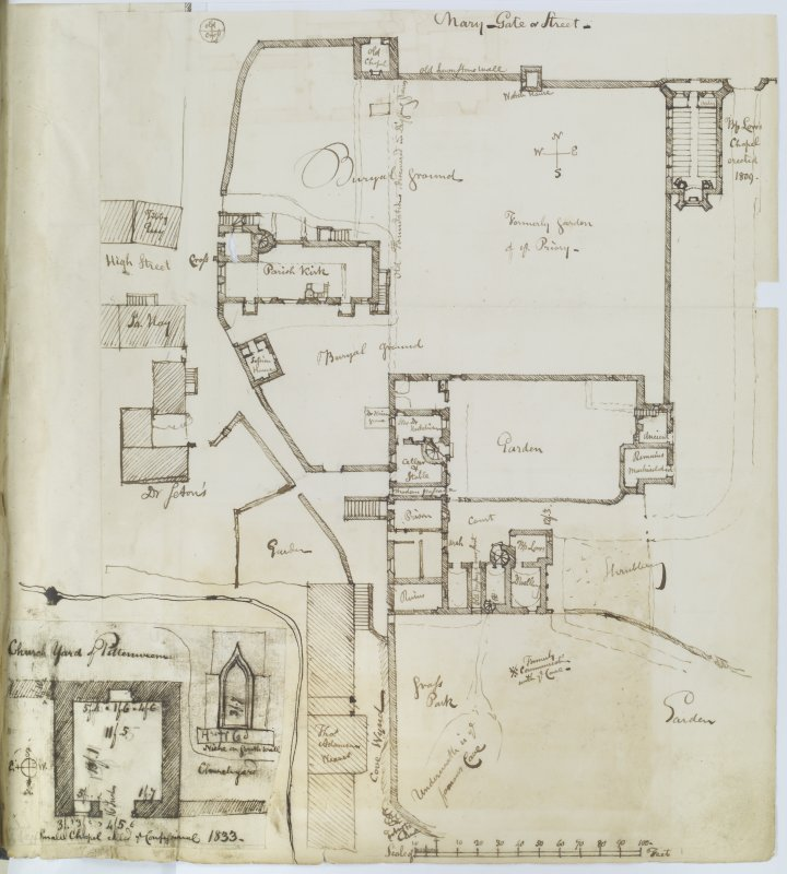 "Ink sketch plan of Pittenweem Priory Insc. ""Remaining Buildings of Pittenweem Priory. 16th July 1829. J.S."" 'MEMORABILIA, JOn. SIME  EDINr.  1840'"