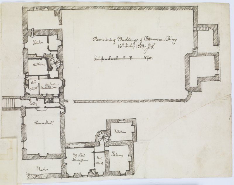 Sketch plan of Pittenweem Priory 'MEMORABILIA, JOn. SIME  EDINr.  1840'