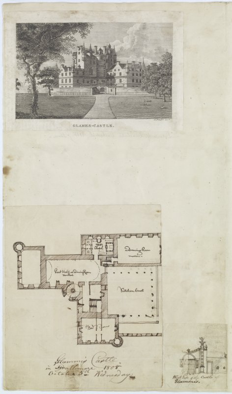 "Digital copy of page 82 verso: Engraving showing general view of Glamis Castle Insc. ""Glames Castle. J.Fraser. Sc."" Ink sketch plan of Glamis Castle Insc. ""Glammis Castle in Strathmore. 1808. October 5th. Monday"" Ink sketch of gates to West of Glamis Castle Insc. ""West side of the Castle of Glammis"" 'MEMORABILIA, JOn. SIME  EDINr.  1840'"