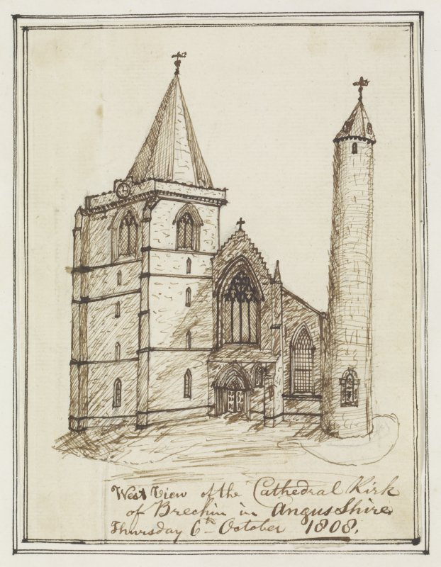 Digital copy of page 82v. Ink sketch of Cathedral Church of Brechin from W. Insc.: 'West view of the Cathedral Kirk of Brechin in Angusshire.  Thursday 6th October 1808'. 'Memorabilia, Jon. Sime  Edinr.  1840'.