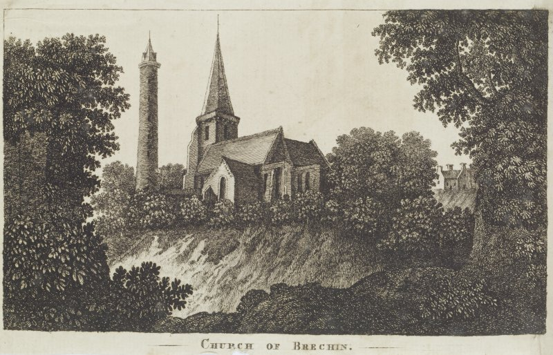 Digital copy of page 82v. Engraving of Brechin Church. Insc.: 'Church of Brechin'. 'Memorabilia, Jon. Sime  Edinr.  1840'.