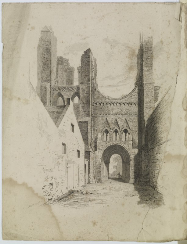 Digital copy of page 83 verso: Arbroath Abbey; etching showing general view of gateway 'MEMORABILIA, JOn. SIME  EDINr.  1840'