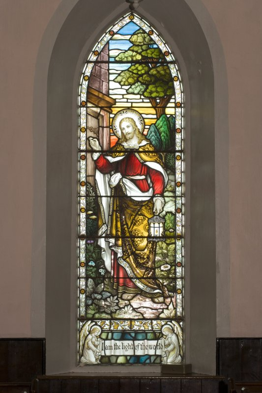 Interior. SE Gable stained glass window by A Ballantine & Son 1906 . Detail