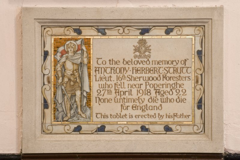 Interior. Nave. Memorial plaque to AH Strutt. Detail