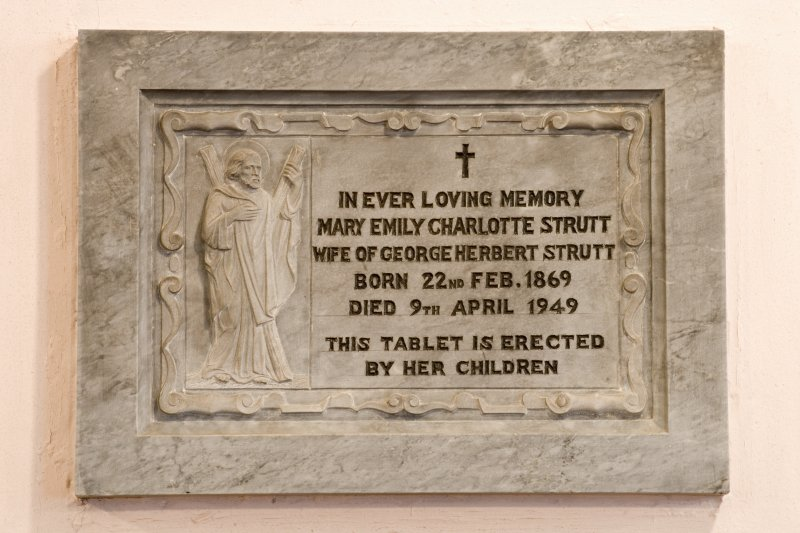 Interior. Nave. Memorial plaque Mary Strutt. Detail