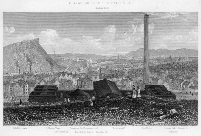 View of Edinburgh.  Inscr: 'Edinburgh from the Calton Hill. Looking South. Salisbury Crags, Liberton Tower, David Deans' Ho., Canongate church and burying ground, top of High School, Canongate Jail, Clerk St Church, Gas Works, Pentland Hills, Cowgate Church, Infirmary'.