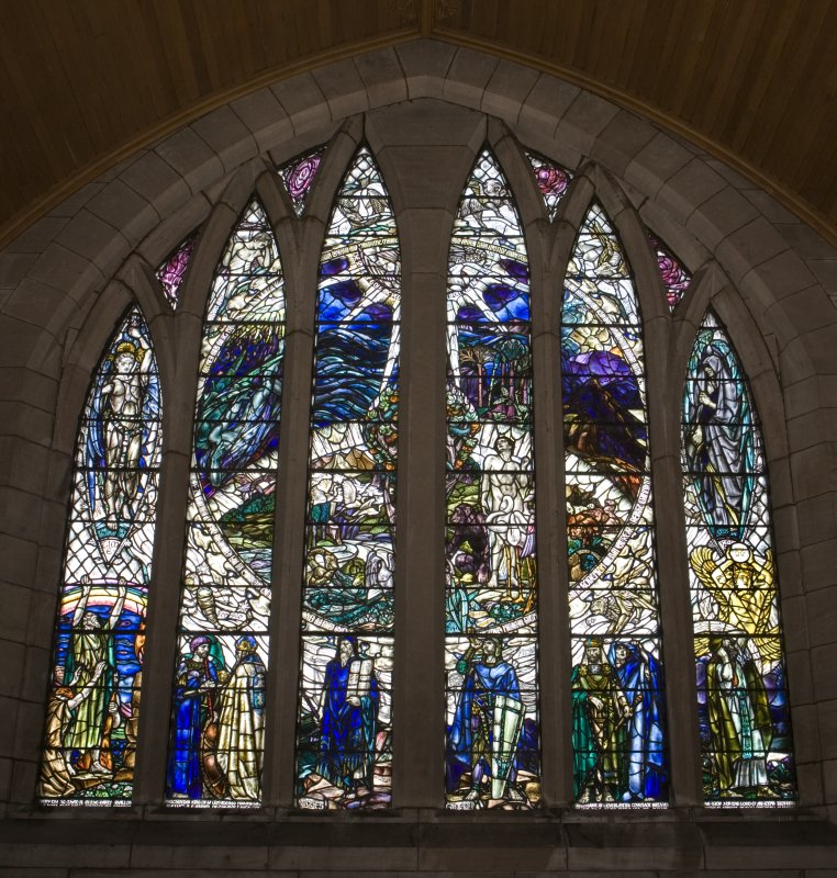 Interior. N Transept Stained glass window by Douglas Strachan dated 1914 of The Creation