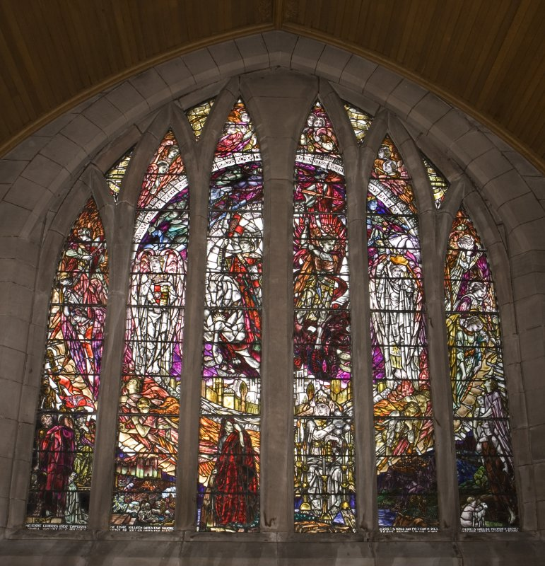 Interior. S Transept Stained glass window by Douglas Strachan dated 1914 of The Revelation