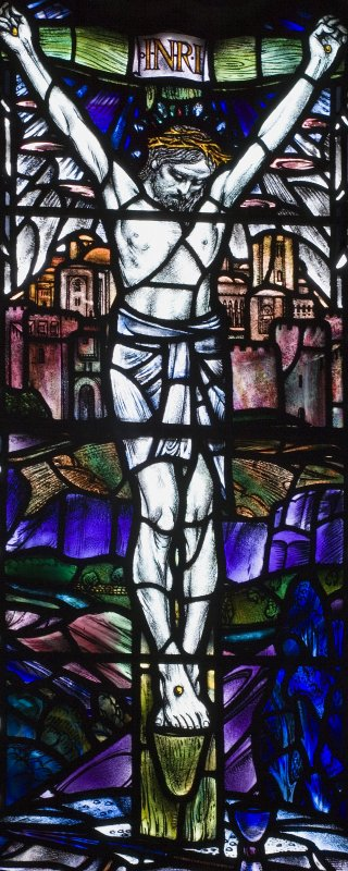 Interior. Detail Chancel E Stained glass window by Douglas Strachan dated 1914 of Christ in Glory