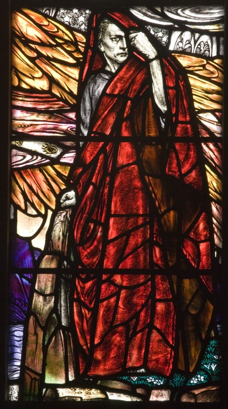 Interior. Detail S Transept Stained glass window by Douglas Strachan dated 1914 of The Revelation