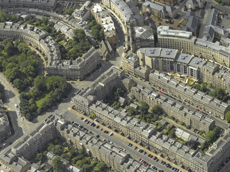 Oblique aerial view centred on St Vincent Street with St Stephen's Church adjacent, taken from the SE.