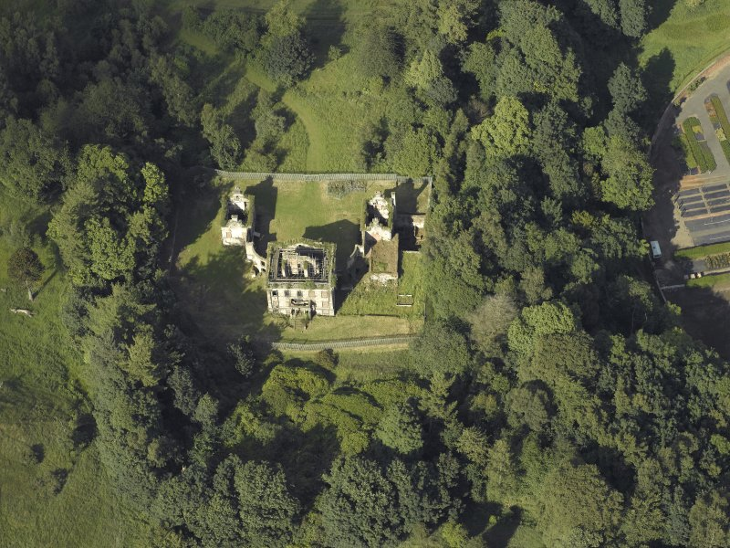 Oblique aerial view centred on Mavisbank House, taken from the SW.