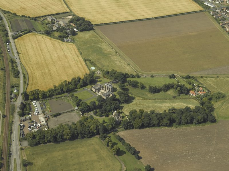 General oblique aerial view centred on Seton house, taken from the E.