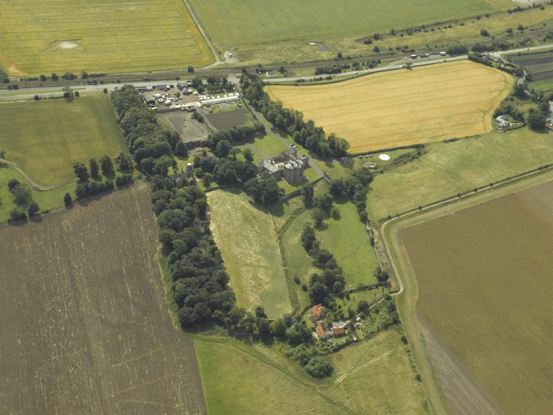 General oblique aerial view centred on the house, taken from the N.