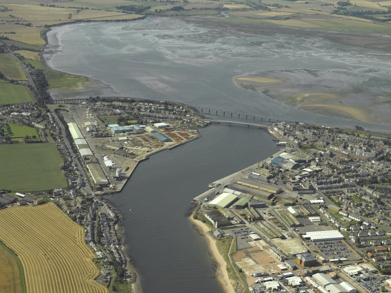 General oblique aerial view looking towards Montrose harbour, taken from the ESE.