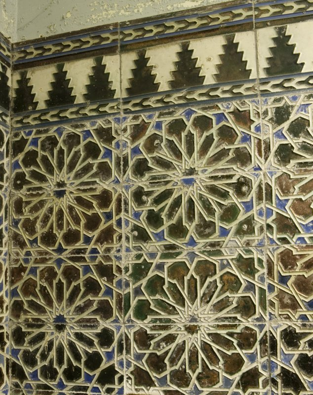 Interior. Ground Floor Cloakroom, detail of mozarabic tiling