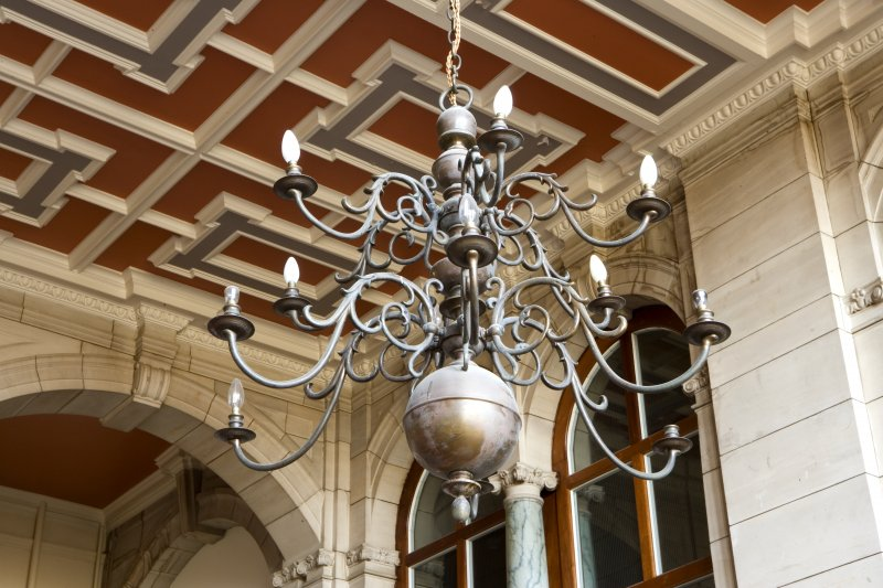 Interior. Main staircase, detail of chandelier