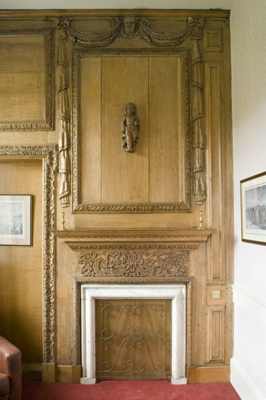 Interior.  Detail of carved panelling in Ante-Room.