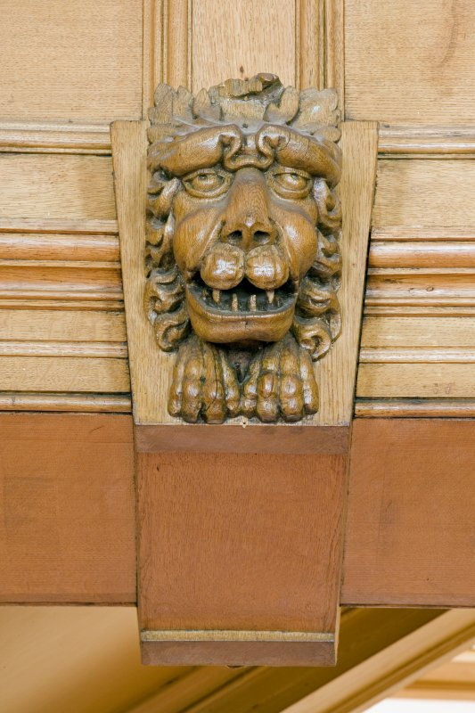 Interior.  Detail of carved wooden lion in Ante-Room.