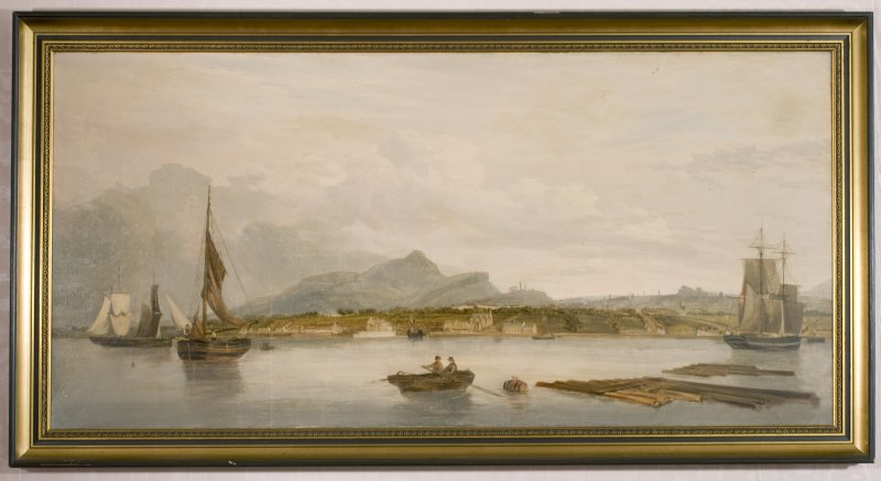 Interior. Detail of painting in the Ante-Room showing a view of Edinburgh from the Firth of Forth.