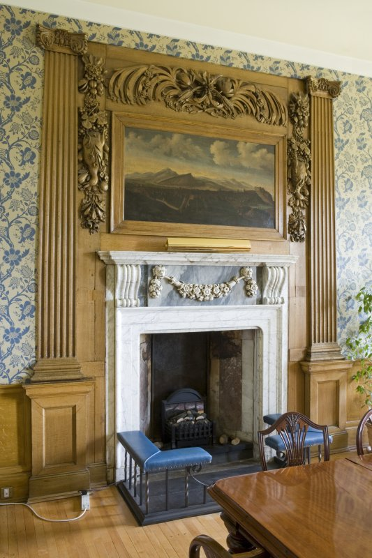Interior.  Blue Room (Woman's House), showing white marble fireplace with 17th centry painting of a view of Edinburgh above.