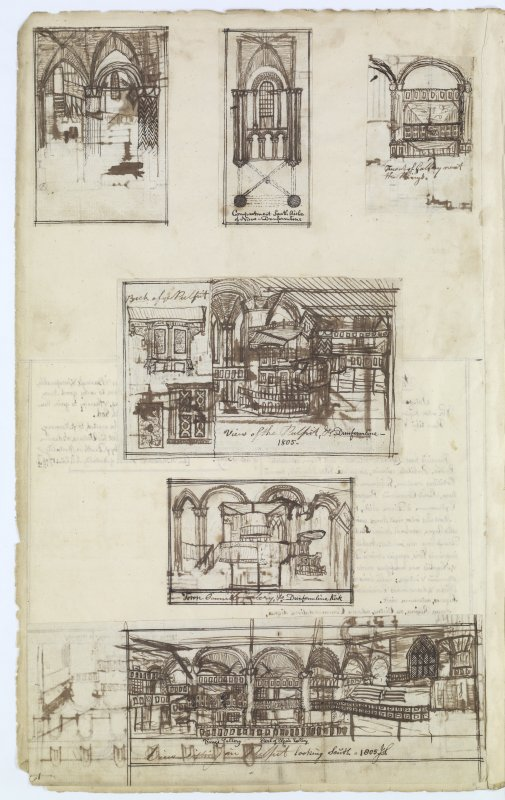 Page 60 verso: Ink sketches of details from interior of Dunfermline Church 'MEMORABILIA, JOn. SIME  EDINr.  1840'