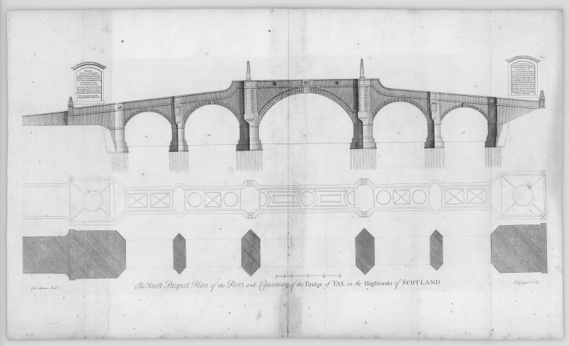 Aberfeldy, Wade's Bridge Section, plan and elevation for Bridge of Tay, copied from 'Vitruvius Scoticus', plate 122.