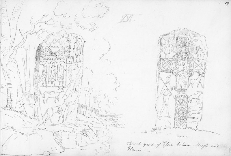 Annotated drawing of both faces of Eassie cross slab.
