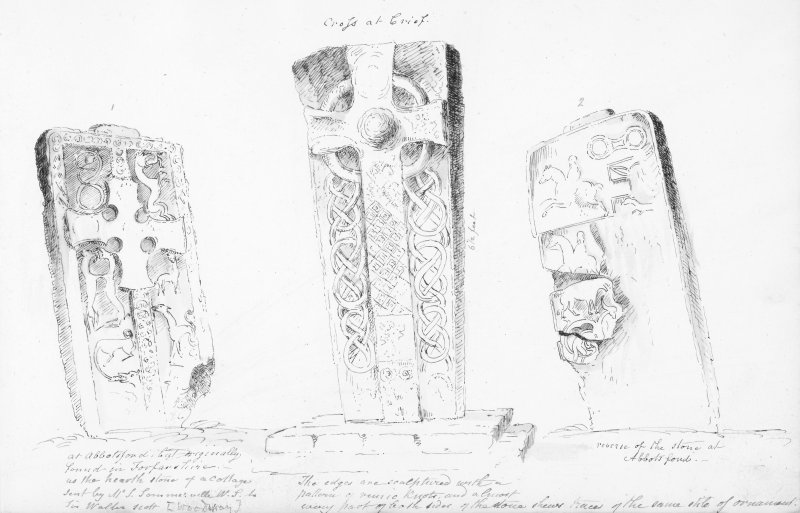 Digital copy of annotated sketches of the Woodray and Crieff cross slabs. James Skene album, page 11.
