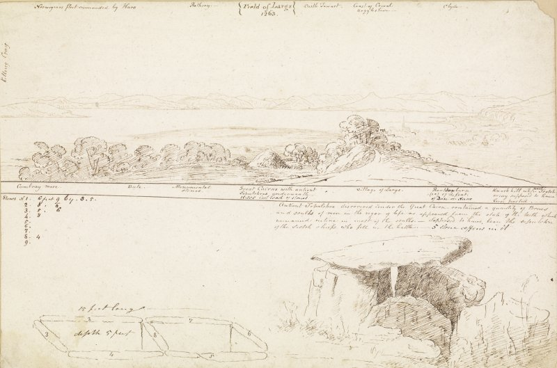 Digital copy of annotated drawings of cairn: panorama of surrounding landscape; detailed drawing of the cairn and chamber. James Skene album, page 70.