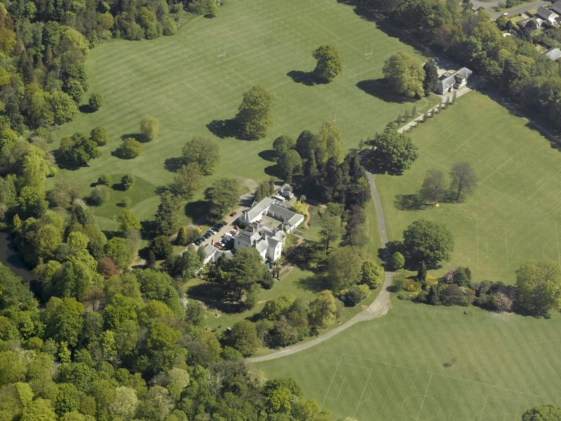 Oblique aerial view centred on Rozelle House with the pavilion adjacent, taken from the SW.