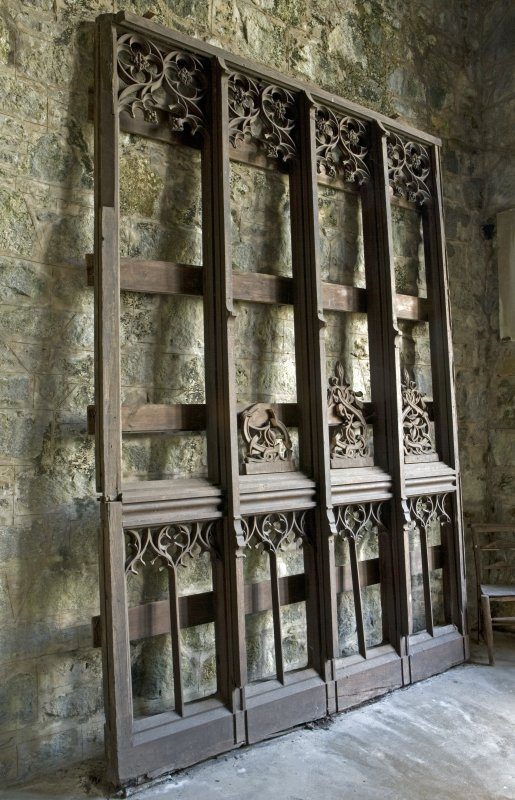 Interior. Bruce's Chapel, wooden screen agaist E wall