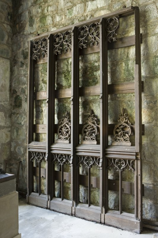 Interior. Bruce's Chapel, wooden screen against W wall