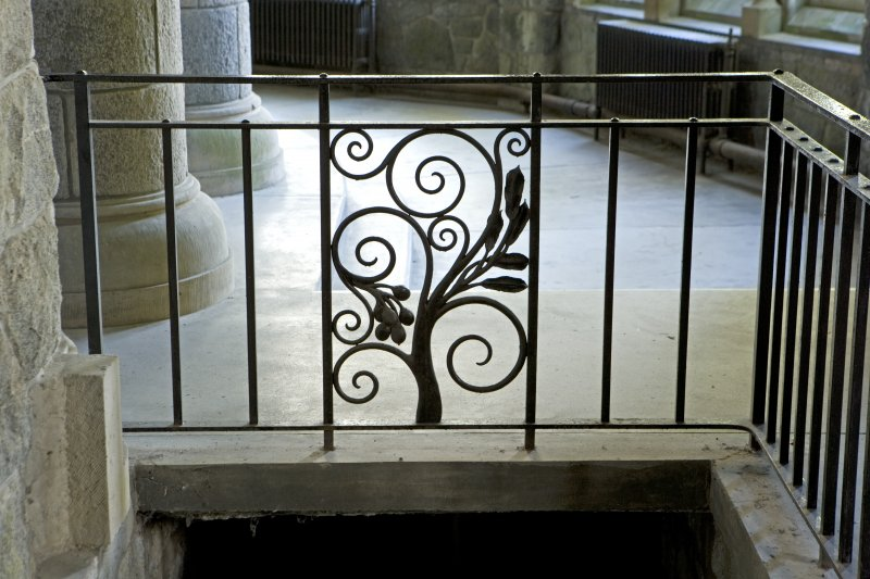 Interior. Detail of railing around stair to undercroft
