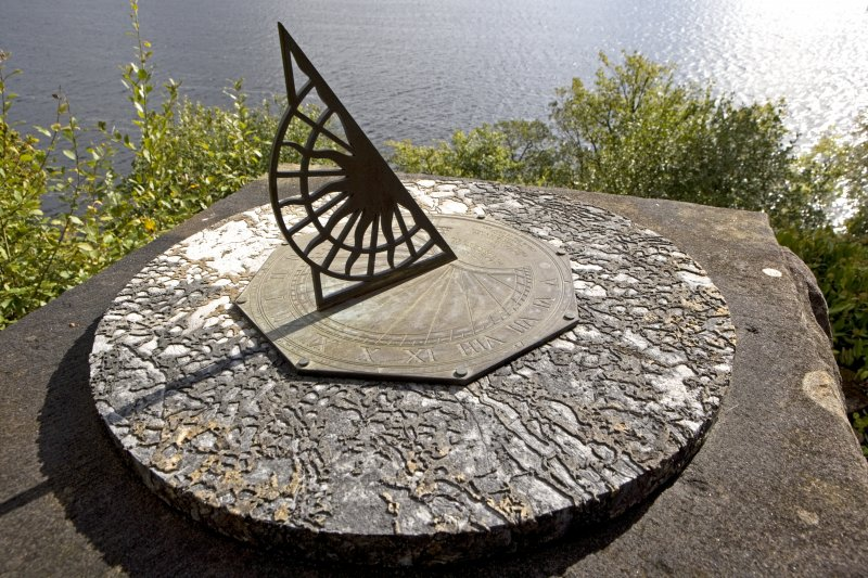 Detail of sundial with gnomon, St Conan's Church, Lochawe.