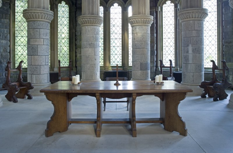 Interior. Chancel. view of communion table and servers' chairs
