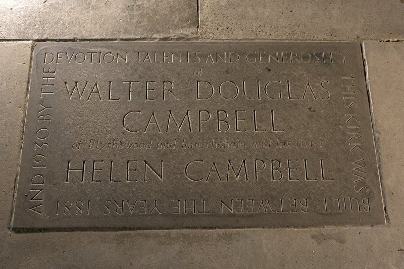 Interior. Chancel, detail of tomb to Walter Douglas Campbell and Helen Campbell set in floor