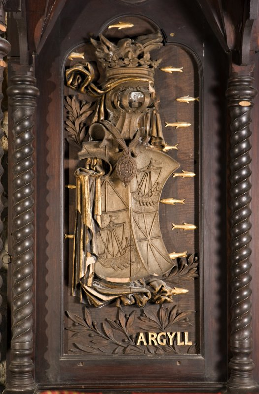Interior. Choir, detail of coat of arms (Argyll) on back of stall
