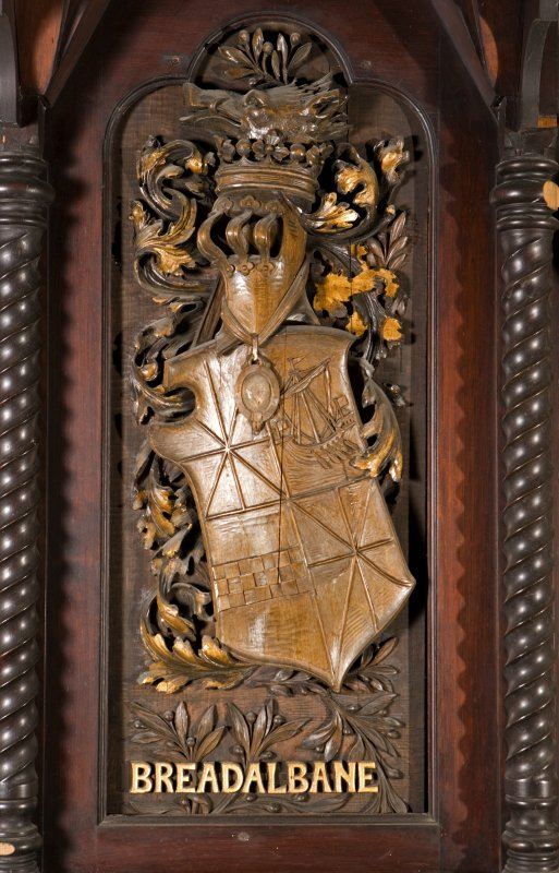 Interior. Choir, detail of coat of arms (Breadalbane) on back of stall