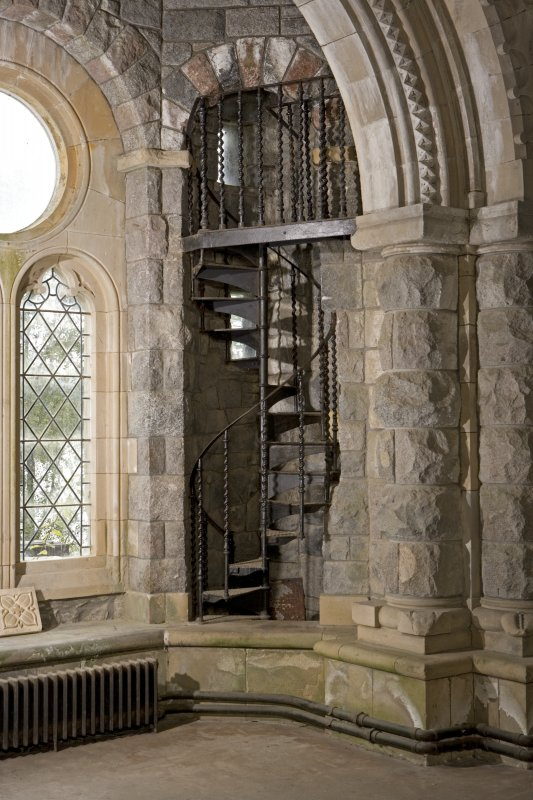 Interior view of the south aisle spiral stair at St Conan's Church, Lochawe.