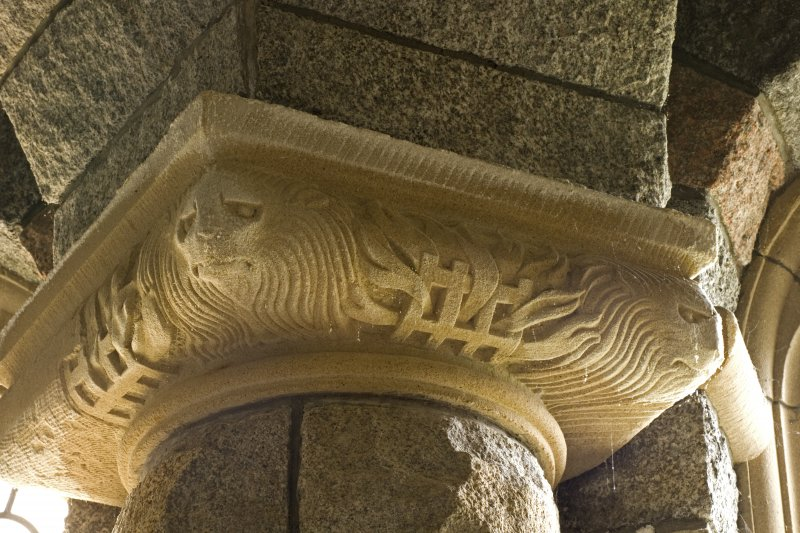 Interior. S aisle, recess, detail of carved column capital
