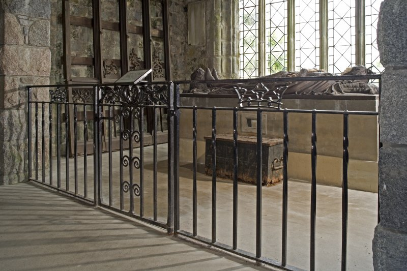 Interior. Bruce's Chapel, view of railing and gate