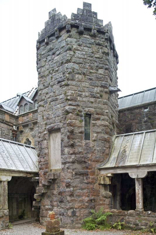 Cloister, view of tower from NW